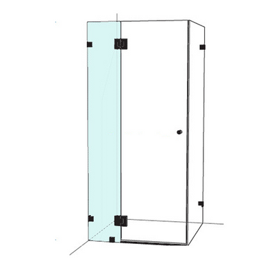 Frameless Shower Screen Hinge Panel Square Cut Out 2000mm