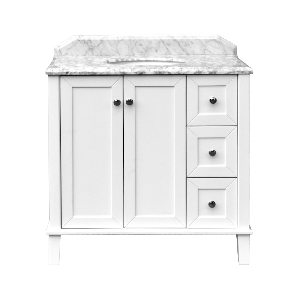 Coventry 900 x 550 Satin White Vanity with Real Marble Top & Ceramic Undercounter Basin