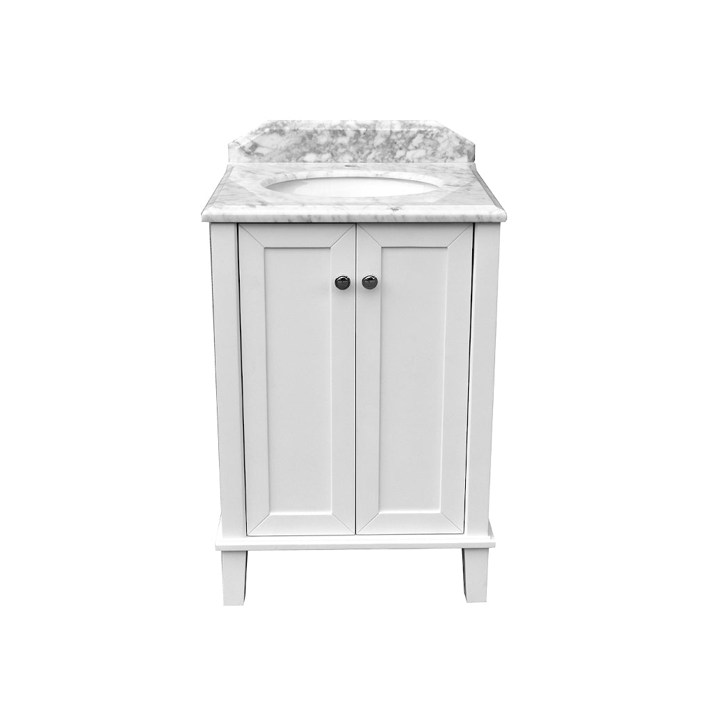 Coventry 600 x 550 Satin White Vanity with Real Marble Top & Ceramic Undercounter Basin