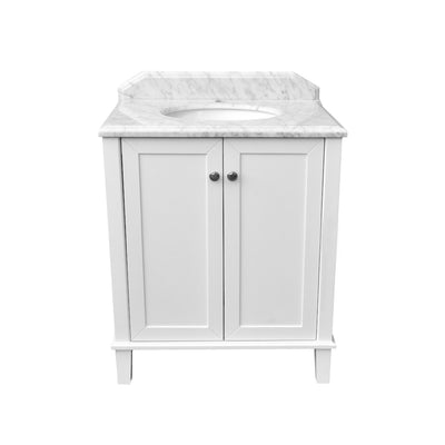 Coventry 750 x 550 Satin White Vanity with Real Marble Top & Ceramic Undercounter Basin