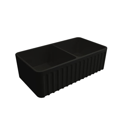 Black Ribbed NOVI 850x460 Fine Fireclay Butler Sink
