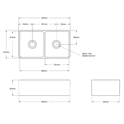 NOVI 850x460 Fine Fireclay Butler Sink Specification Drawing