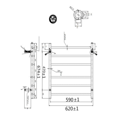 6 Bar Heated Towel Rail Specification Drawing