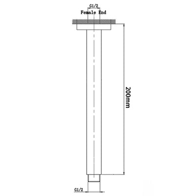 Norico Cavallo Square Ceiling Shower Arm 200mm Specification Drawing