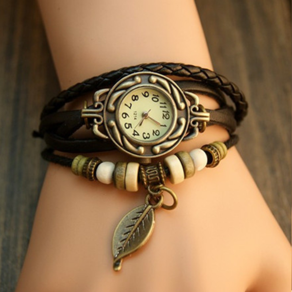 Free Leaf Vintage Wrap Watch with Free Gift Box - Ashley Jewels - 1