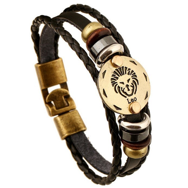 Zodiac Signs Black Gallstone Leather Bracelet - Florence Scovel - 6