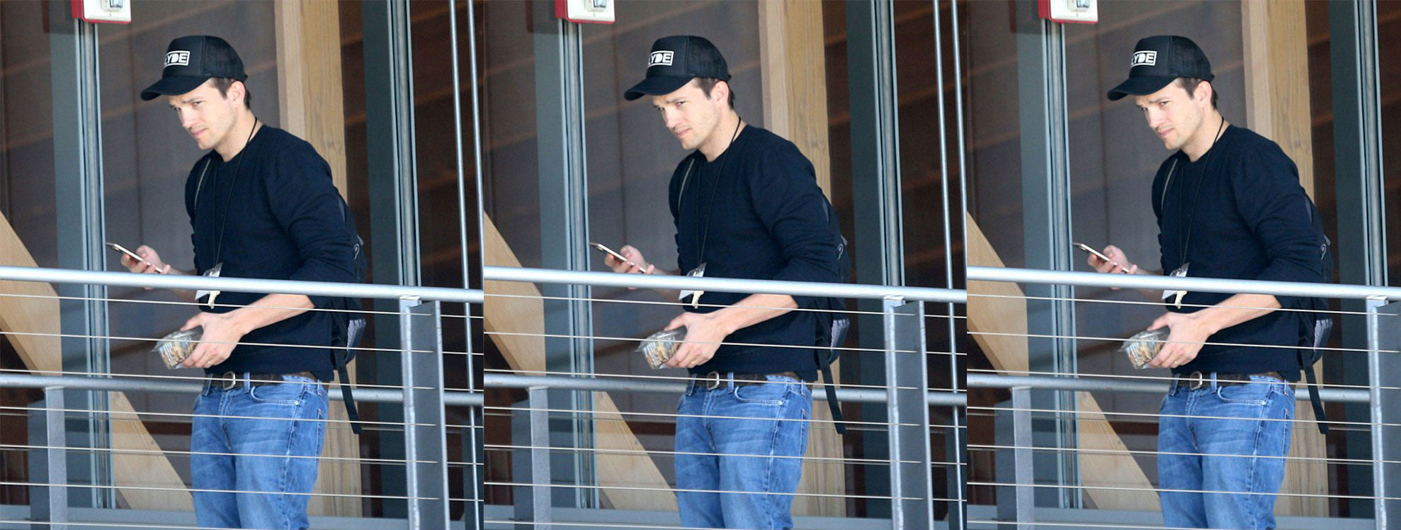 Ashton Kutcher Rocking A Slyde Handboards Trucker Hat