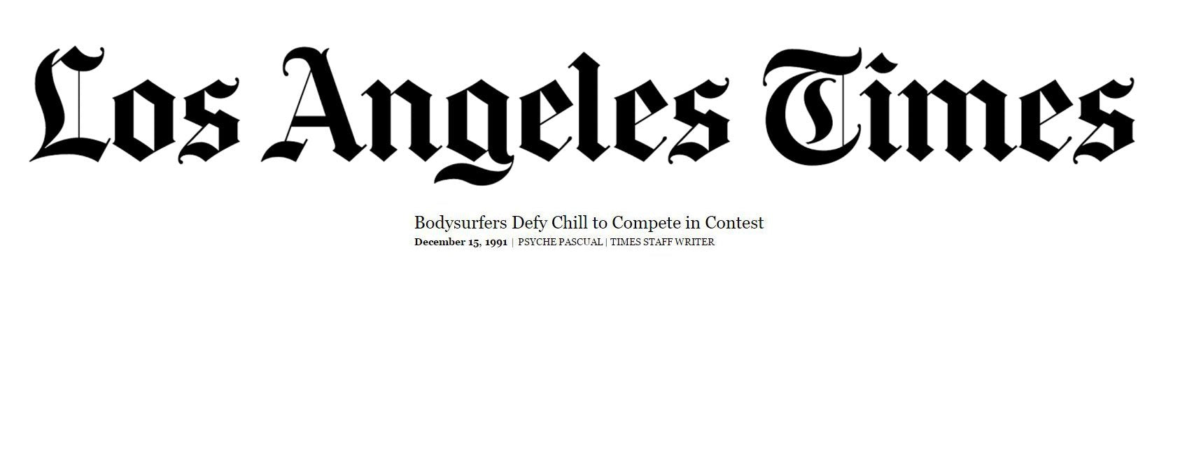 Bodysurfers Defy Chills - This Day in 1991, An Article by the Los Angeles Times