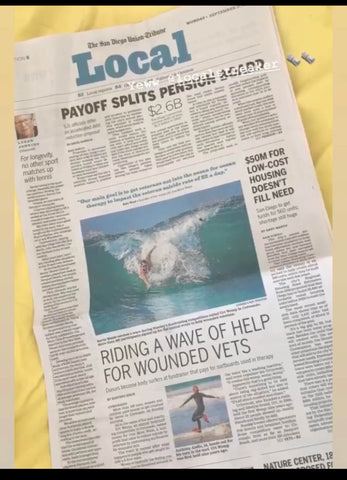 Bodysurfer in California Newspaper