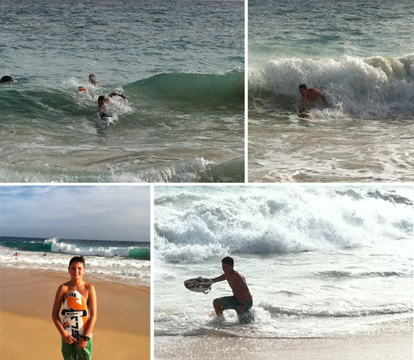 Jameson shredding on his Grom Slyde Handboard in Hawaii