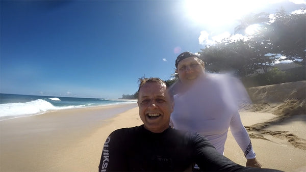 Ken Robbins and I - stoked after our session at Pipeline, Ehukai Beach Park
