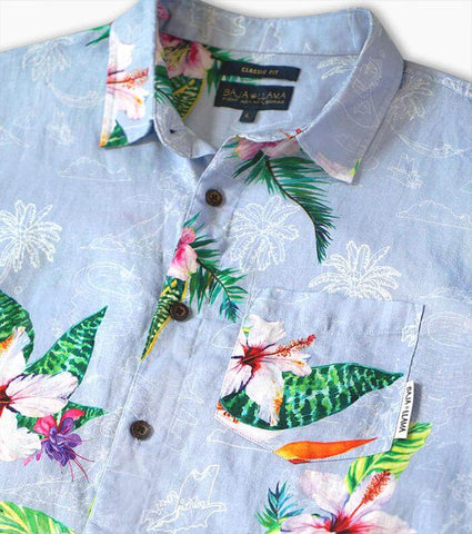 Linen Hawaiian Shirt by Baja Lllama
