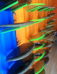 Boards at the new Slyde store on the Venice Beach Boardwalk