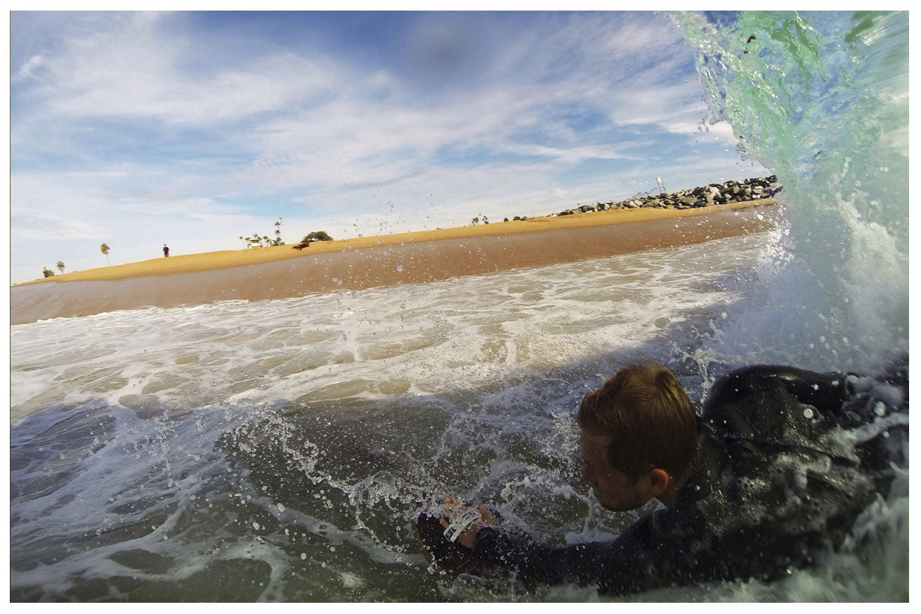 Desmond and Zachariah slyde ryder bodysurfing and handboarding at the wedge Newport beach California Getting shacked