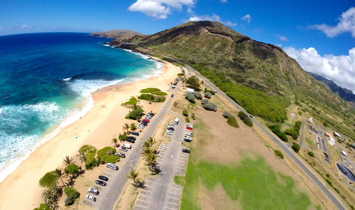 Arial view of Sandy's beach hawaii oahu