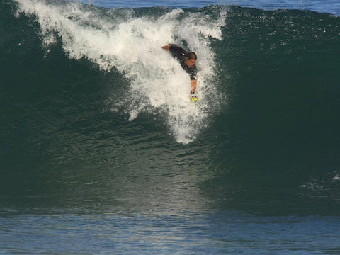 Sean Enoka riding Bula at Pipeline