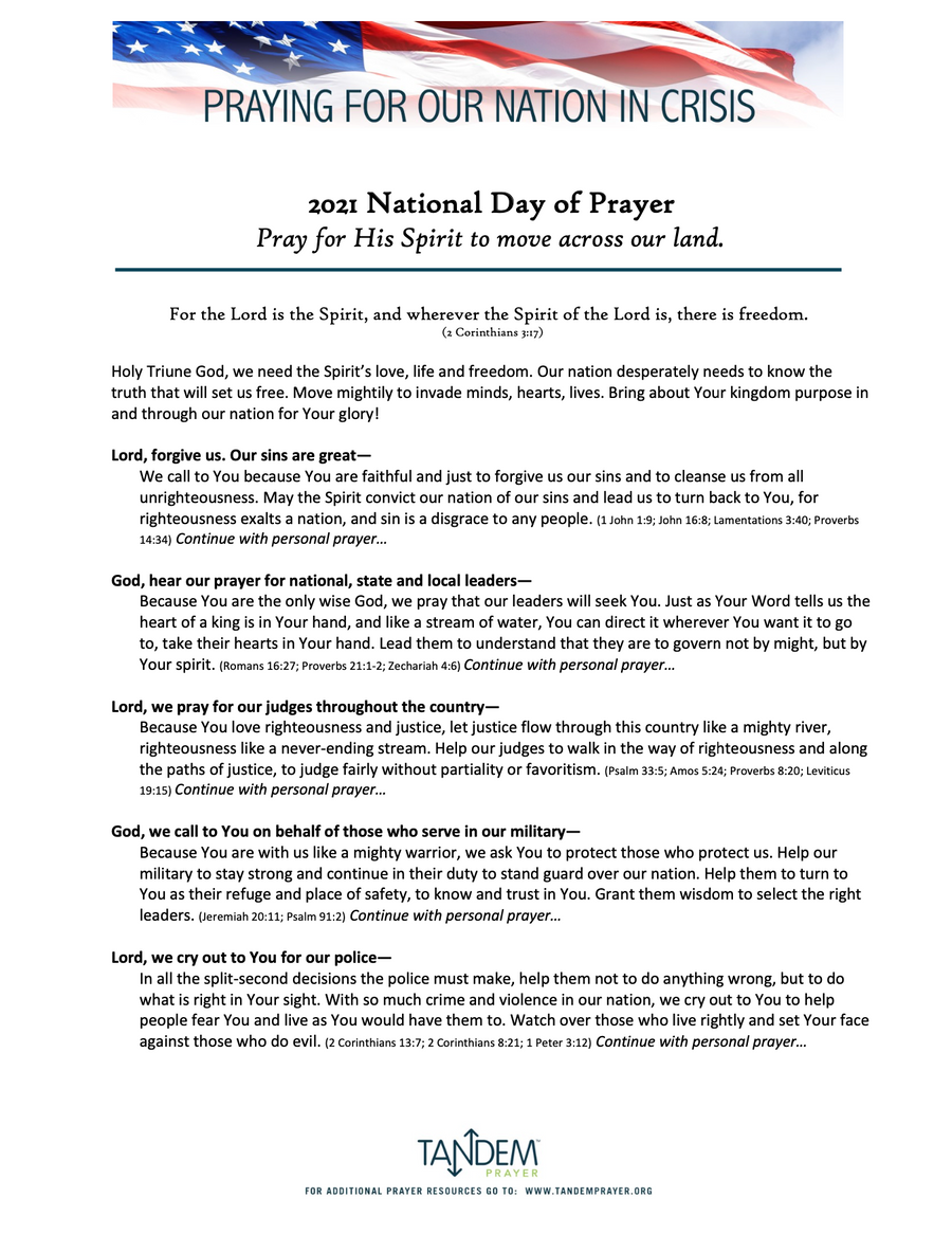 National Day of Prayer 2021 - Prayer Guide