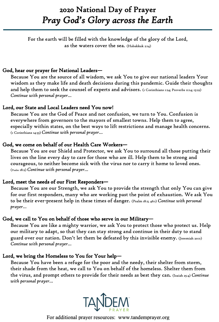 National Day of Prayer 2020 - Prayer Guide