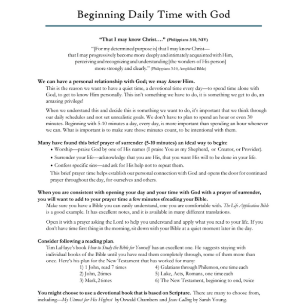 Beginning Time with God