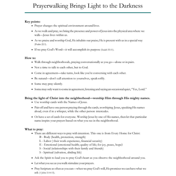 Prayerwalking Brings Light to the Darkness