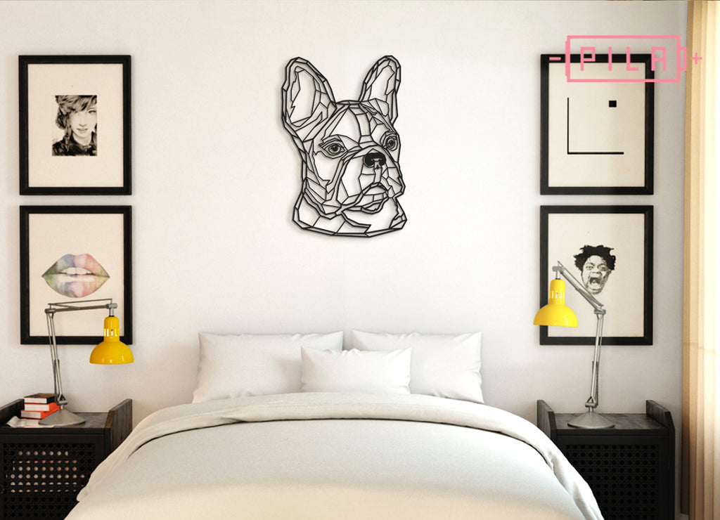 Frenchie | Figura geométrica | Decoración pared | Hecha en madera