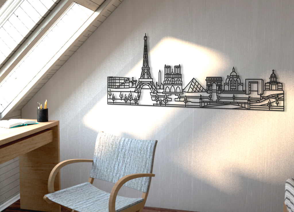 Skyline Paris | Figura geométrica | Decoración pared | Hecha en madera