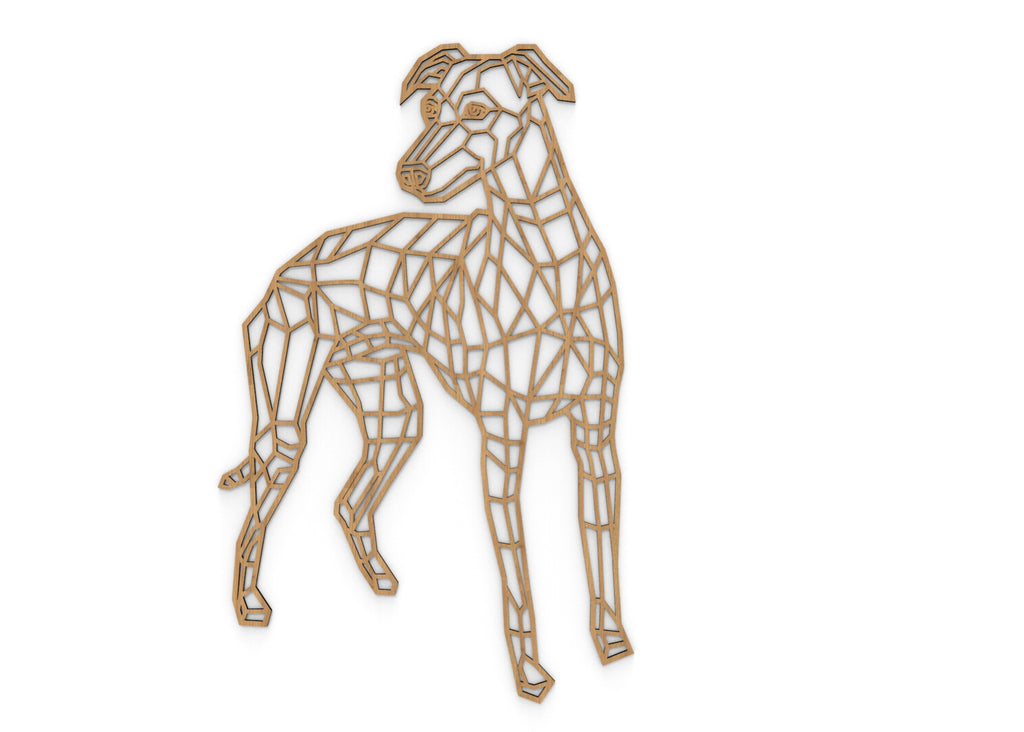 Whippet | Figura geométrica | Decoración pared | Hecha en madera