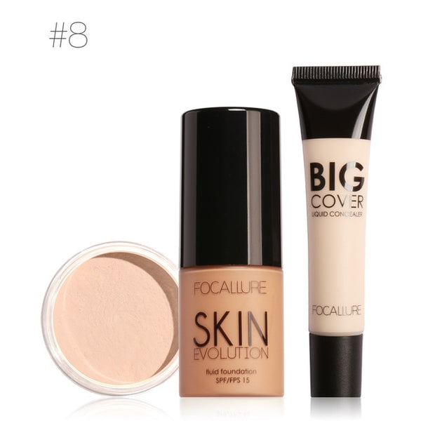 FOCALLURE Makeup Set Professional 3Pcs Make up Cosmetics Kit with Concealer Cream Foundation Cream and Setting Powder