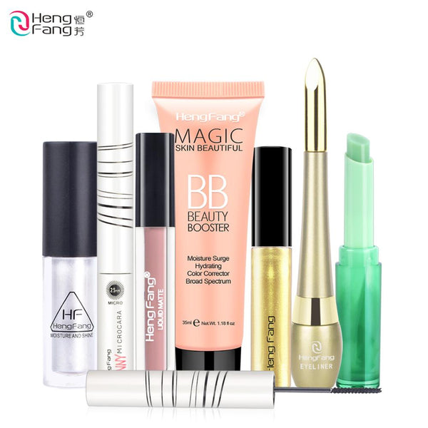 1Set=7Pcs HengFang Makeup Set Eyeliner +Mascara +Lip Gloss +Lipstick +Highlighter +BB Cream #HFS002