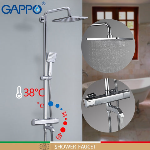 NEW GAPPO thermostatic bathroom faucet wall mounted rainfall shower set mixer