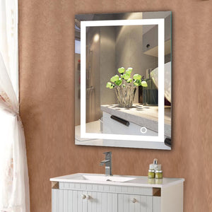 NEW LED Home Bathroom Mount Makeup Mirror Lighted Rectangular W/Touch Button Bathroom Decor HWC
