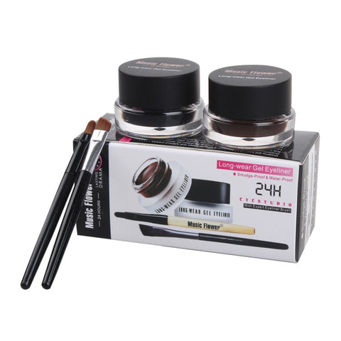 2pcs\lot Top Quality Brand Cosmetics 2 in 1 Black And Brown Waterproof Eyeliner Gel With Brush Makeup Eye Liner Beauty Tool