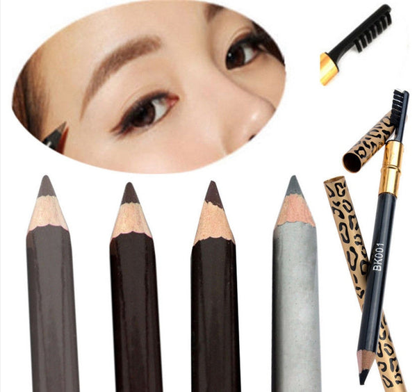 Leopard Women Eyebrow Pencil Waterproof Black Eye Brown Coffee Pencil With Brush Make Up Eyeliner Eye Liner Makeup Tools
