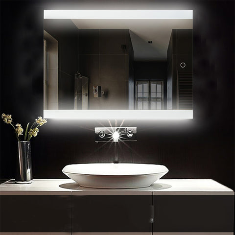 Bathroom LED Glowing Mirror Make-up Cosmetic Mirror Modern Touchable Intellegent Mirror Flameless Wall Mounted Mirror HWC