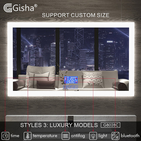 NEW Gisha Smart LED Bathroom Wall Mirror with Anti-fog & Touch Screen Bluetooth G8028