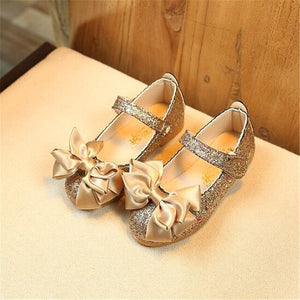 Bright Leather Bow Flat Heel Shoes