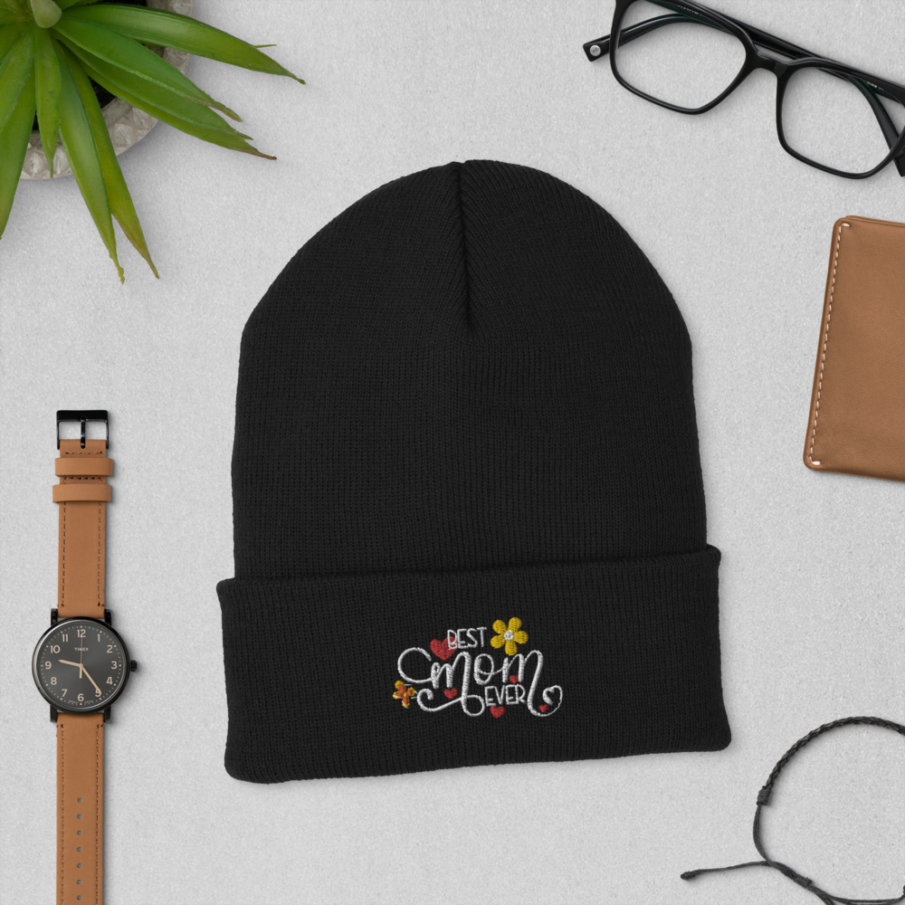 "Mother's Day ""Best Mom Ever"" Cuffed Beanie - Art Squad"