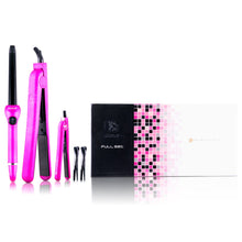 Load image into Gallery viewer, Full Set 100% Ceramic Plates Hair Straightener, Mini Straightener and Curling Wand - Hot Pink