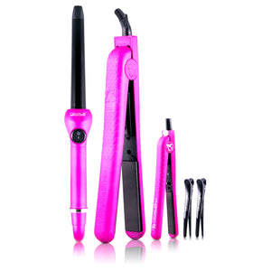 Full Set 100% Ceramic Plates Hair Straightener, Mini Straightener and Curling Wand - Hot Pink