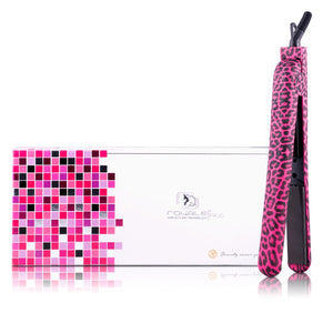 Classic Print 100% Ceramic Tourmaline Plates Soft Touch Hair Straightener - Hot Pink Leopard