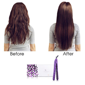 Classic Print 100% Ceramic Tourmaline Plates Soft Touch Hair Straightener - Purple Zebra