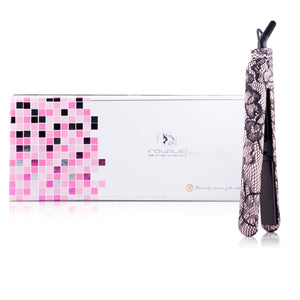 Classic Print 100% Ceramic Tourmaline Plates Soft Touch Hair Straightener - Pink Lace
