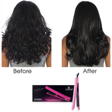 Load image into Gallery viewer, Platinum Genius Heating Element Hair Straightener with 100% Ceramic Plates - Pink Stripes