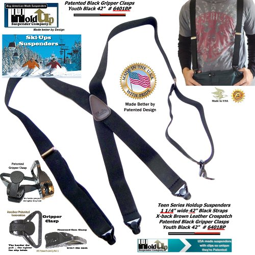 "Holdup Black 42"" Teen size Black Ski-Ups X-back Suspenders with Patented Gripper Clasps"