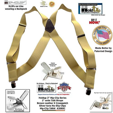 """Holdup Brand Light TAN Trucker Style 2"""" Wide Hip-Clip Suspenders with jumbo Patented No-slip Clips"""