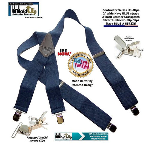 "USA made  ""Navy Blue"" color Contractor Series HD clip-on Holdup work suspenders"