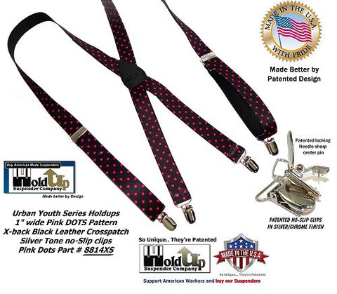 Holdup Brand X-back black skinny suspenders with pink Poka Dots and silver patented no slip clips for fashionable Teenstas