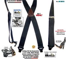 Load image into Gallery viewer, Holdup Brand Black Ski-Up USA made X-back Suspenders with Patented Gripper Clasps