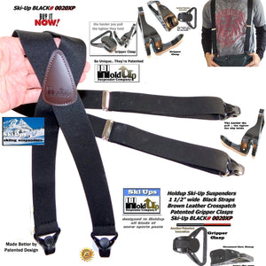 Holdup Brand Black Ski-Up USA made X-back Suspenders with Patented Gripper Clasps