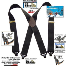 Load image into Gallery viewer, Holdup Brand 2 inch wide Black X-Back Ski-Up Suspenders With Jumbo Black Gripper Clasps